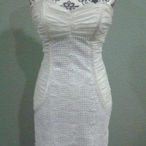 2/$50 Bebe sweetheart lace accent mini dress